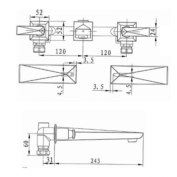 Heritage Hemsby Wall Mounted Bath Filler Specification