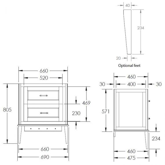 Imperial Radcliffe Thurlestone  Wall Hung Vanity Unit Specification