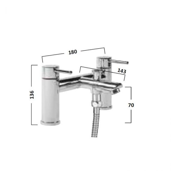 Tavistock Lift Bath Shower Mixer With Handset - Spec