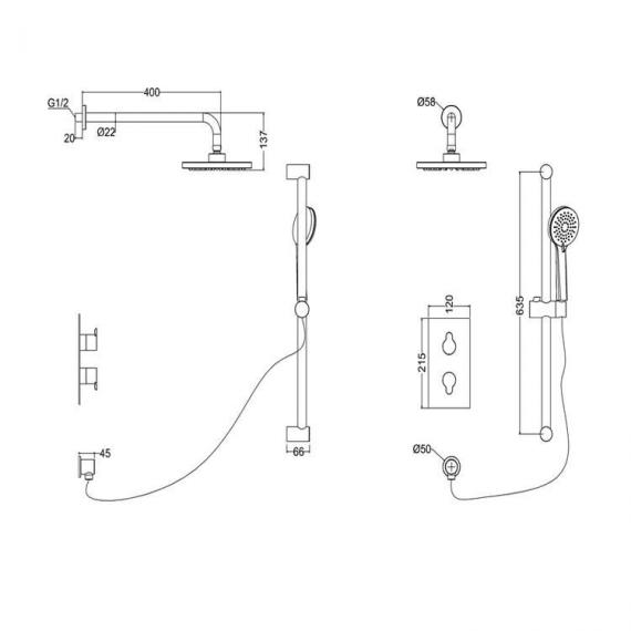 Britton Concealed Dual Outlet Thermostatic Shower Valve Kit - Spec