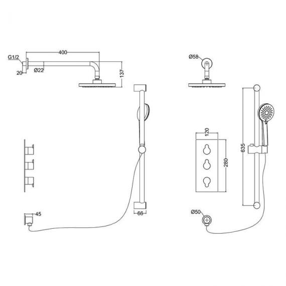 Britton Concealed Dual Outlet Thermostatic Shower Valve Kit With 3 Controls - Spec