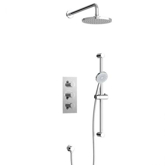 Britton Concealed Dual Outlet Thermostatic Shower Valve Kit With 3 Controls