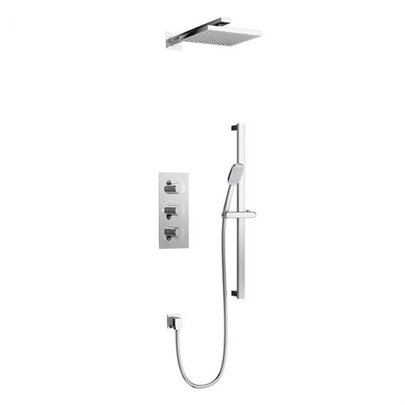Britton Concealed Dual Outlet Thermostatic Square Shower Valve Kit With 3 Controls