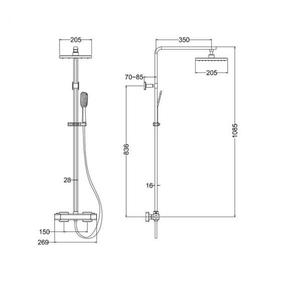 Britton Square Exposed Thermostatic Shower Valve Kit - Spec