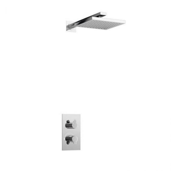 Britton Concealed Thermostatic Shower Valve, Square Shower Head & Arm