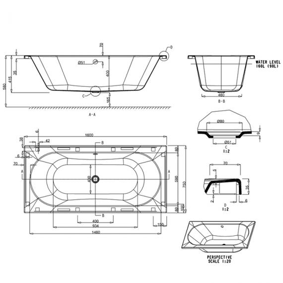Cleargreen Verde 1600 x 750mm Double Ended Bath Specification