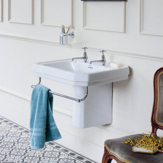 Burlington Victorian Large 61cm Basin, Semi Pedestal & Towel Rail