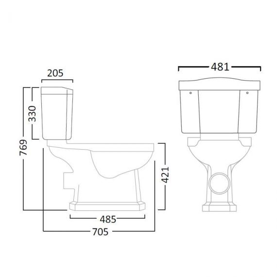 Tavistock Vitoria Close Coupled WC & Cistern Sec 1