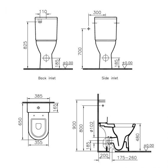 Vitra S50 Comfort Height Open Back Close Coupled WC, Cistern & Seat - Spec
