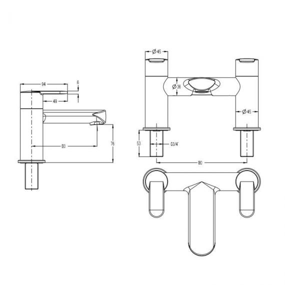 Crosswater Voyager Bath Filler Specification