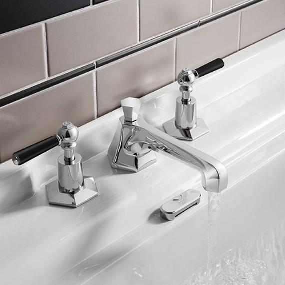 Crosswater Waldorf Black Lever Basin 3 Hole Set