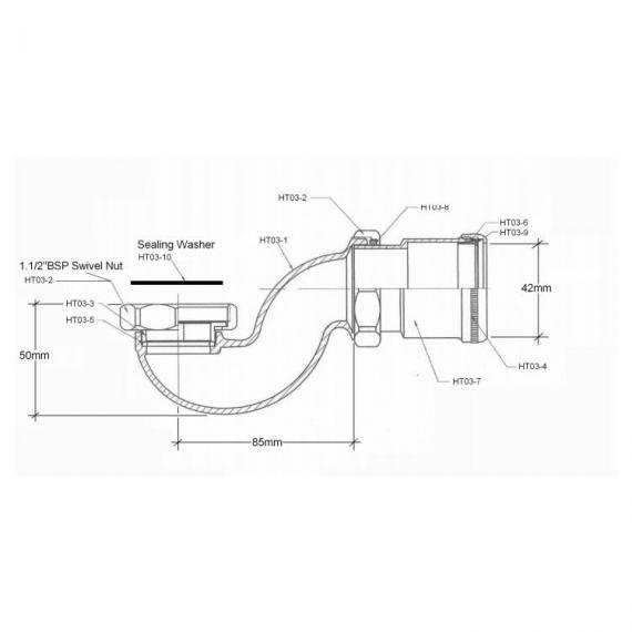 BC Designs Exposed Low Bath Trap With Adaptor & Pipe Specification