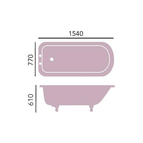 Heritage Wessex Freestanding Cast Iron Roll Top Bath & Feet Specification