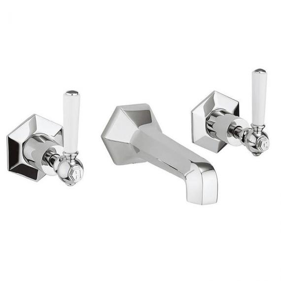 Crosswater Waldorf White Lever Wall Mounted Basin 3 Hole Set
