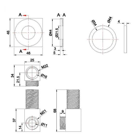 Crosswater Square Wall Outlet Specification
