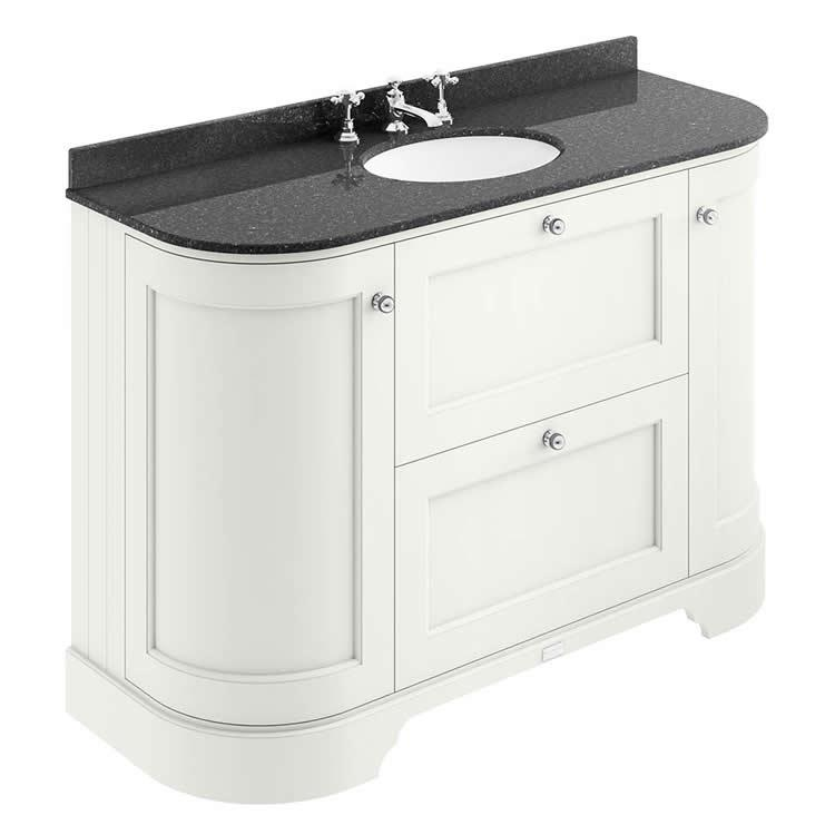 Bayswater Pointing White 1200mm 2 Drawer Curved Vanity