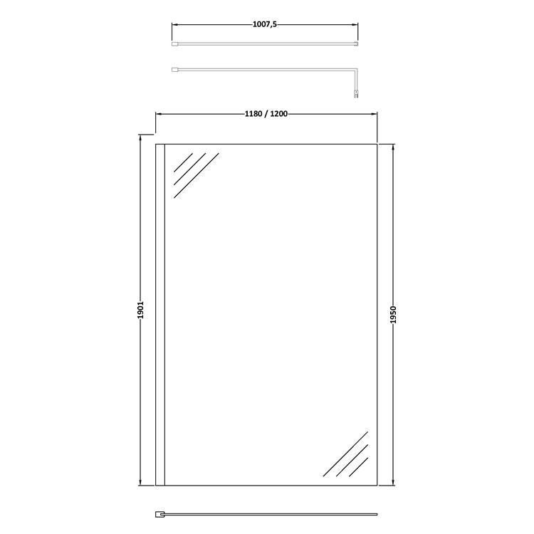 Hudson Reed 1200mm Wetroom Screen With Support Bar