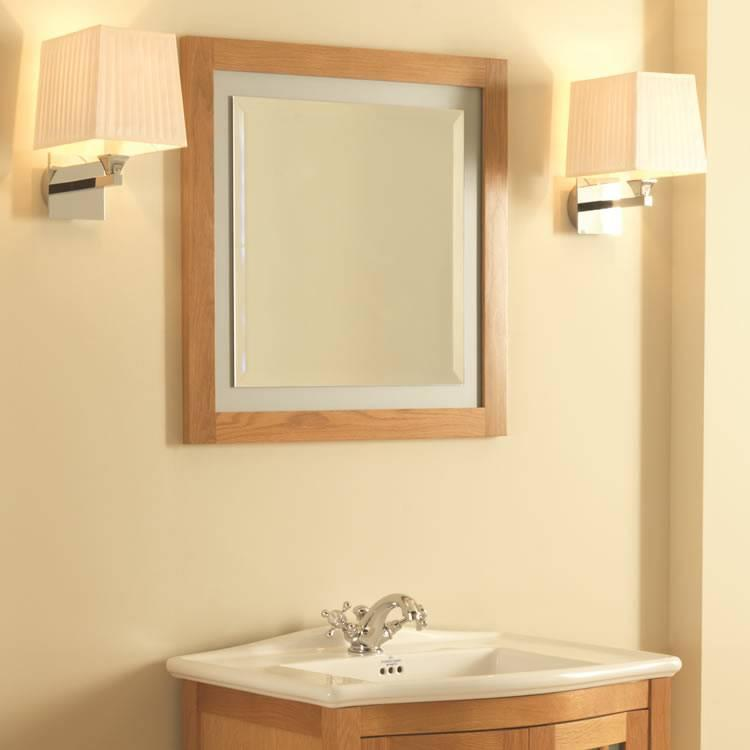 Imperial linea natural oak mirror with opaque glass border for Best bathrooms 4 u