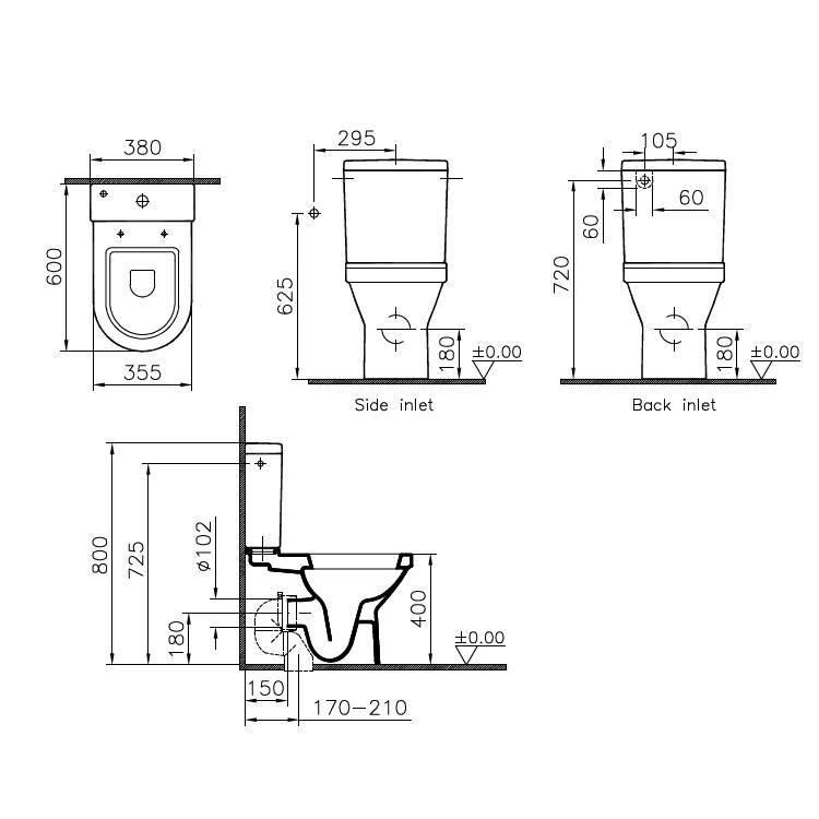 Vitra S50 Compact Back To Wall Close Coupled Wc Cistern