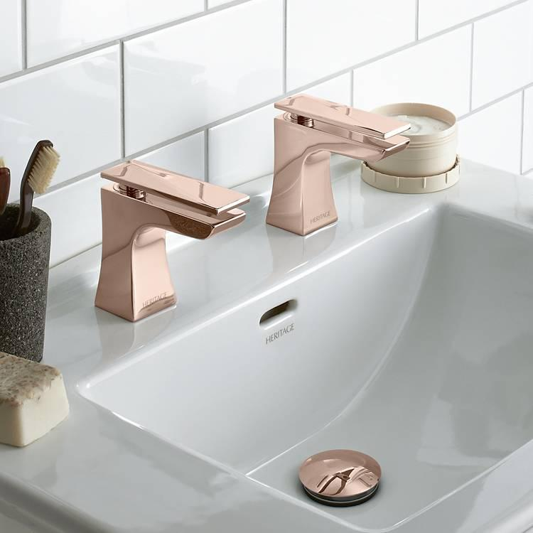 Heritage hemsby rose gold basin taps victorian bathrooms 4 u for Rose gold bathroom accessories sets