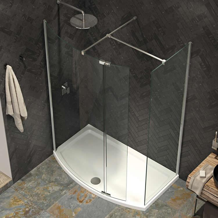 Kudos Ultimate 2 1700 x 700mm Curved Walk In Shower Enclosure & Tray ...
