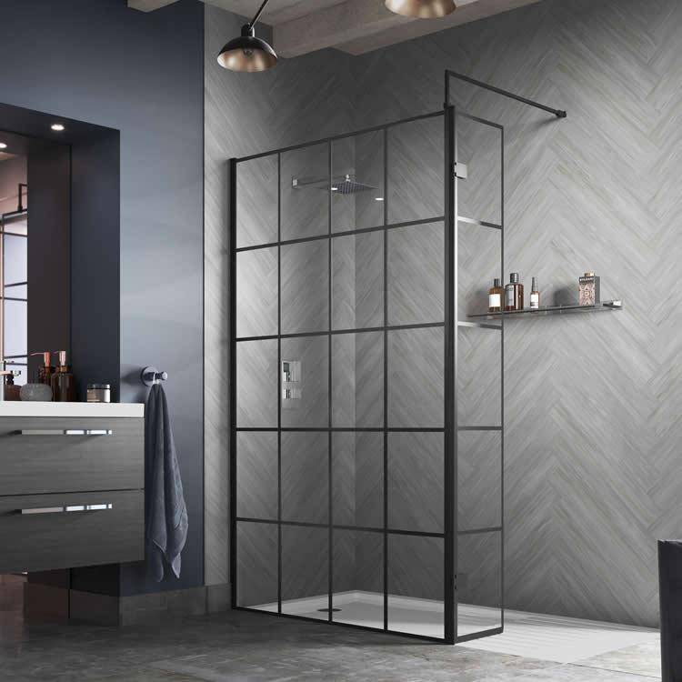Hudson Reed 1000mm Black Framed Wetroom Screen Vb4u