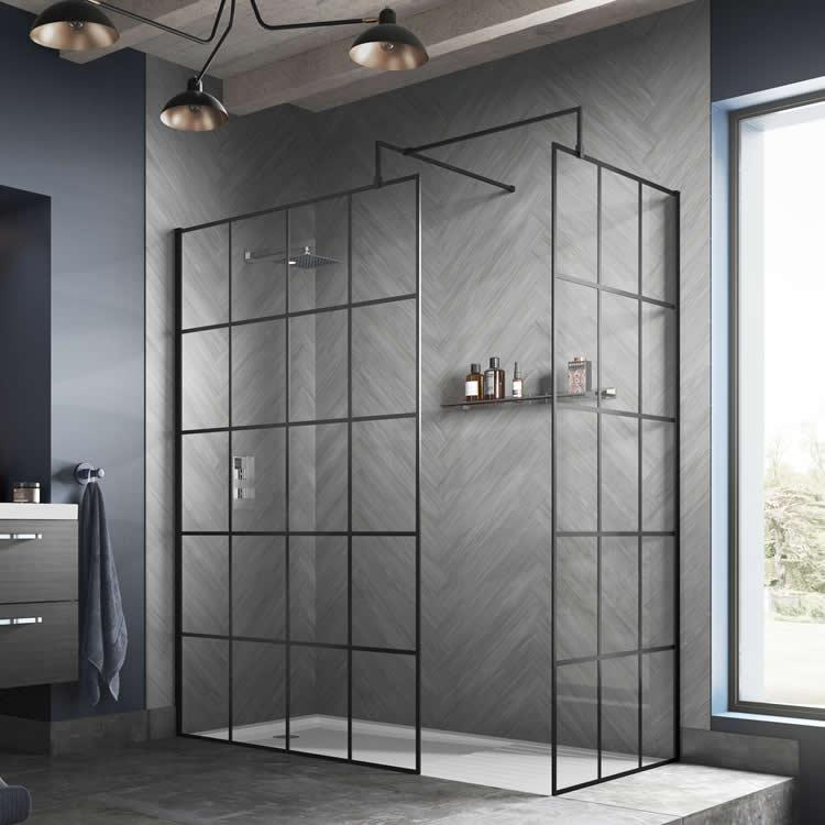Hudson Reed 1200mm Black Framed Wetroom Screen Vb4u