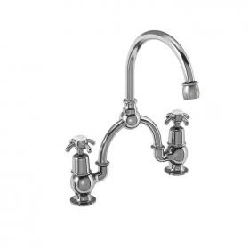 Burlington Anglesey 2 Tap Hole Bridge Basin Mixer With Curved Spout & Overflow