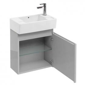 Aqua Cabinets Compact 30.5 Light Grey Wall Mounted Cloakroom Vanity Unit