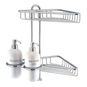 Crosswater Solo Corner Wire Basket With Ceramic Dispensers