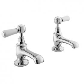Bayswater White Lever Basin Taps