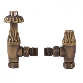 Bayswater Angled Thermostatic Antique Brass Radiator Valves With Lock Shield