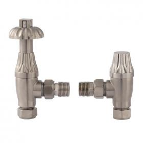 Bayswater Angled Thermostatic Satin Nickel Radiator Valves With Lock Shield