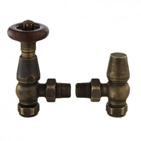 Bayswater Angled Thermostatic Rounded Antique Brass Radiator Valves With Lock Shield