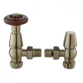 Bayswater Angled Thermostatic Rounded Satin Nickel Radiator Valves With Lock Shield