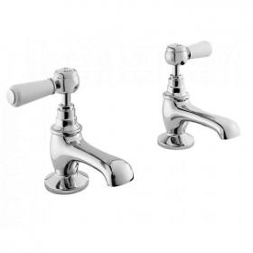 Hudson Reed Topaz White Lever Basin Taps With Hexagonal Collars