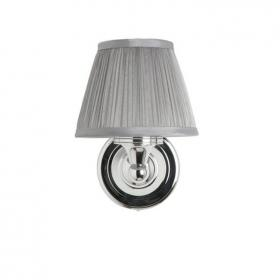 Arcade Round Light With Chrome Base and Chiffon Silver Shade