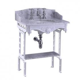 Burlington Georgian Marble Basin With White Aluminium Wash Stand