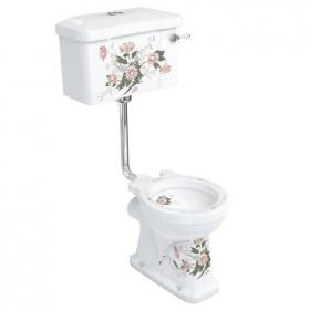 Burlington English Garden Low Level Toilet With Ceramic Cistern Lever