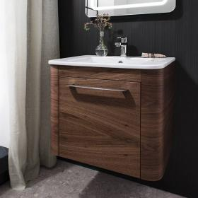 Bauhaus Celeste 600mm American Walnut Vanity Unit & Ceramic Basin