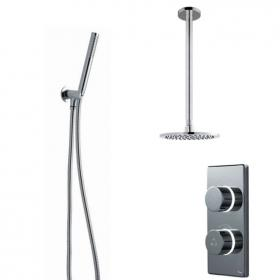 Britton Contemporary Digital Shower Valve, Ceiling Round Head & Handspray