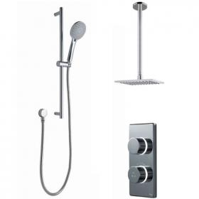 Britton Contemporary Digital Shower Valve, Ceiling Square Head & Slide Rail