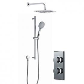 Britton Contemporary Digital Shower Valve, Wall Mounted Square Head & Slide Rail