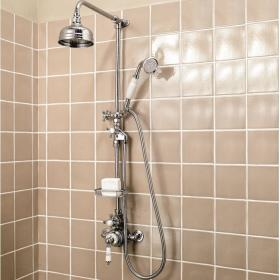 Imperial Victorian Exposed Thermostatic Shower Valve With Head, Riser Rail & Handset