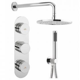 Crosswater Dial 2 Control Shower Valve With Central Trim, Shower Head & Handset