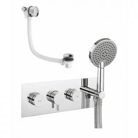 Crosswater Dial Bath Valve With Kai Lever Trim, Ethos Handset & Overflow Filler