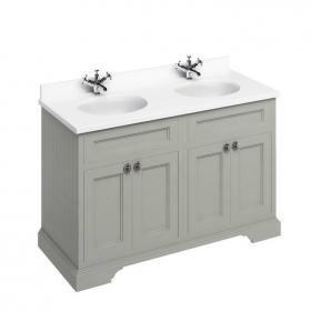 Burlington Olive 1300mm Freestanding Double Vanity Unit, Worktop & Basin