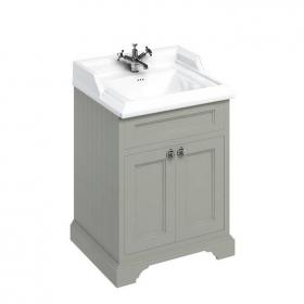 Burlington Olive 650mm Freestanding Vanity Unit With Doors & Classic Basin
