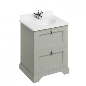 Burlington Olive 670mm Two Drawer Vanity Unit With Minerva Worktop & Basin