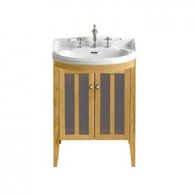 Heritage Hidcote Medium Bow Front Oak Vanity Unit & Basin